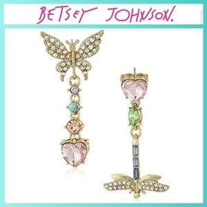 Betsey Johnson Butterfly Dragonfly Pave Earrings